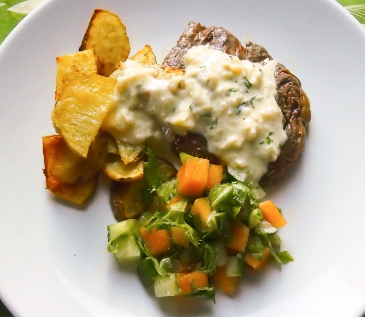Beef tenderloin steak with creamy celeriac sauce
