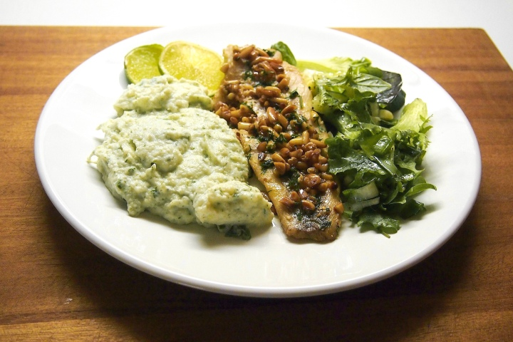 Roasted whitefish with pine nutbutter