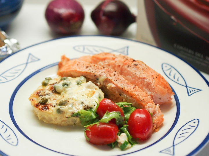 Baked salmon with fennels