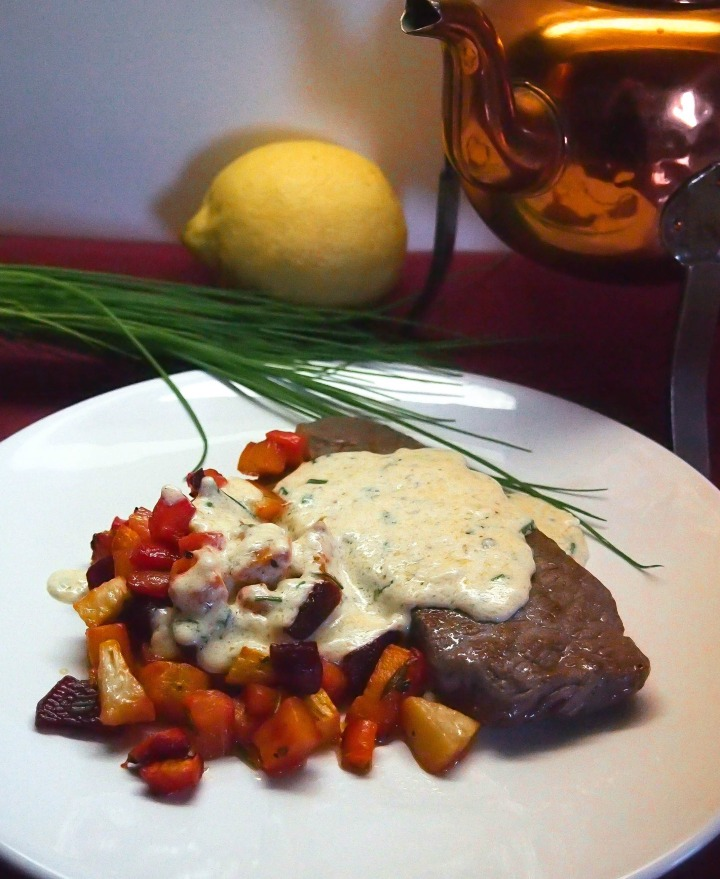Beef sirloin steak and oven baked root vegetables