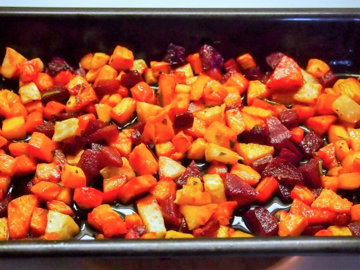 Oven baked root vegetables