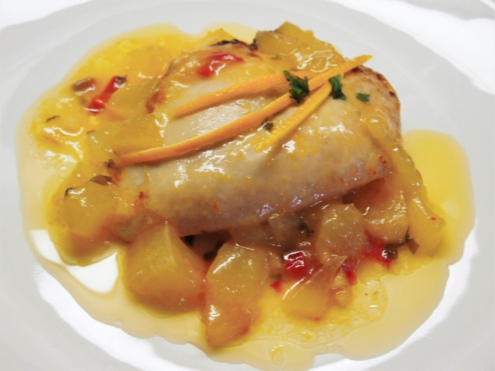 Chicken breast in melon and orange sauce