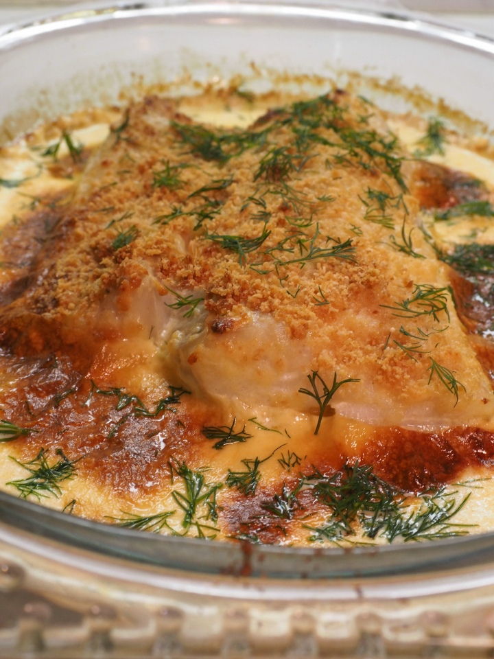 Breaded cod baked in the oven